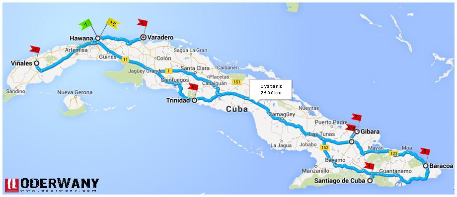 mapa podróży po Kubie